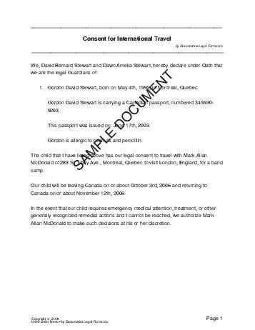 Sample Permission Letter For Traveling Child Child Travel Consent - permission letter