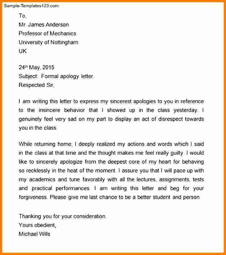 Apology Letter Formal Sample Formal Apology Letter 7 Documents In - formal apology letters