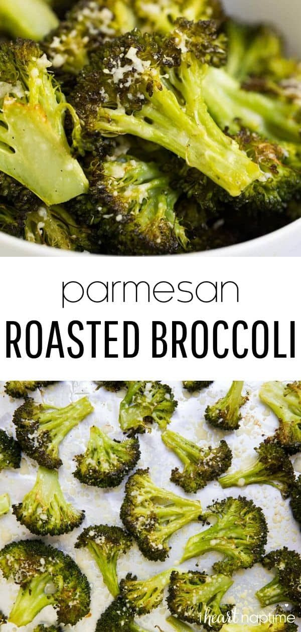 This parmesan roasted broccoli is the best broccoli ever! Such a simple, yet tasty side dish. Perfectly crispy and full of flavor! #broccoli #roasted #roastedbroccoli #roastedvegetables #vegetables #parmesan #parmesanbroccoli #healthy #healthyrecipes #sidedish #veggies #recipes #iheartnaptime