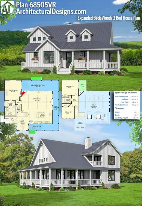Archiitectural Designs Farmhouse House Plan 68505VR gives you 3 beds, 2.5 baths and over 2,000 square feet of heated living space. Upstairs balcony.