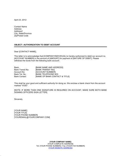 Delightful Authorization To Debit Account   Template U0026 Sample Form | Biztree.com Inside Letter Of Debit Note