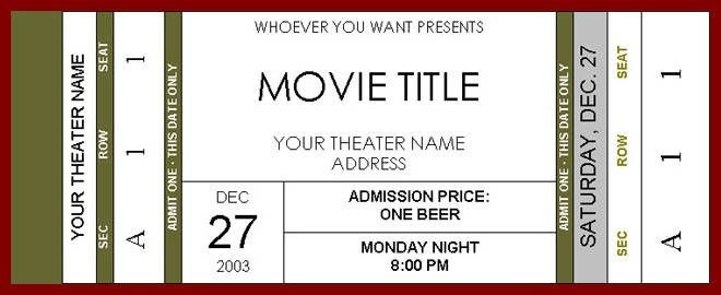 Movie Ticket Templates For Word Movie Ticket Template Cyberuse, 6 - movie theater ticket template