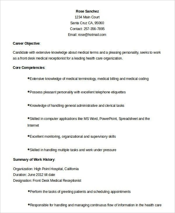 Resume Examples For Medical Receptionist Medical Receptionist Cv