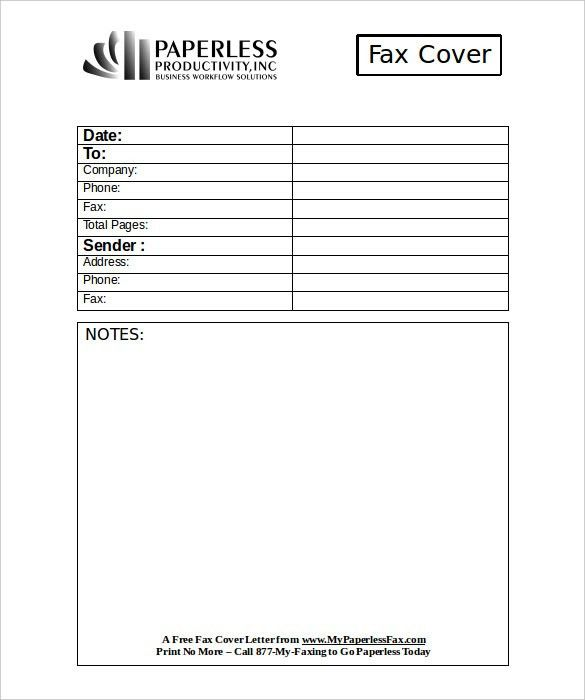 free blank fax cover sheet