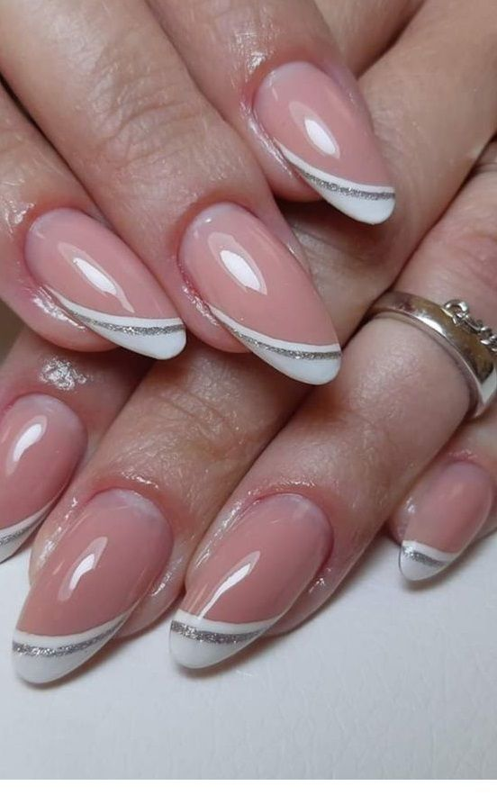 Simple nails with white and silver glitter