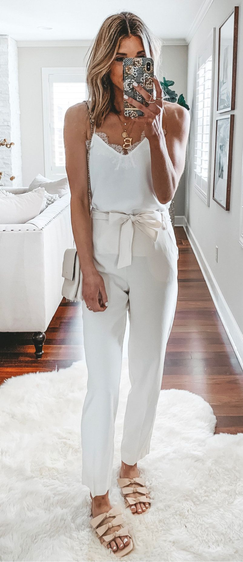 white spaghetti strap top and white pants #spring #outfits