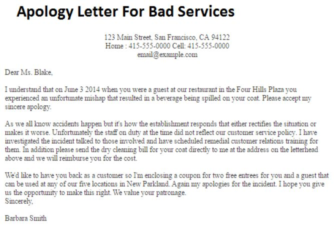 business apology letter for poor customer service
