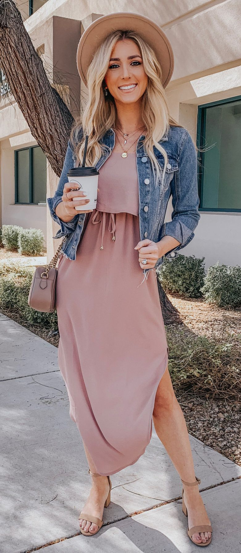 blue denim button-up jacket and pink dress #spring #outfits