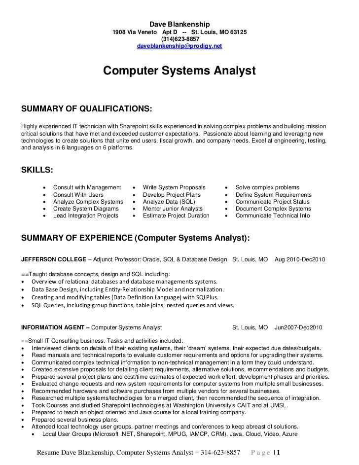 systems analyst resume example examples of resumes - Business System Analyst Resume