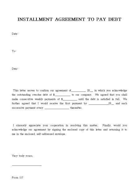 letter of payment agreement - Format - loan agreement sample letter