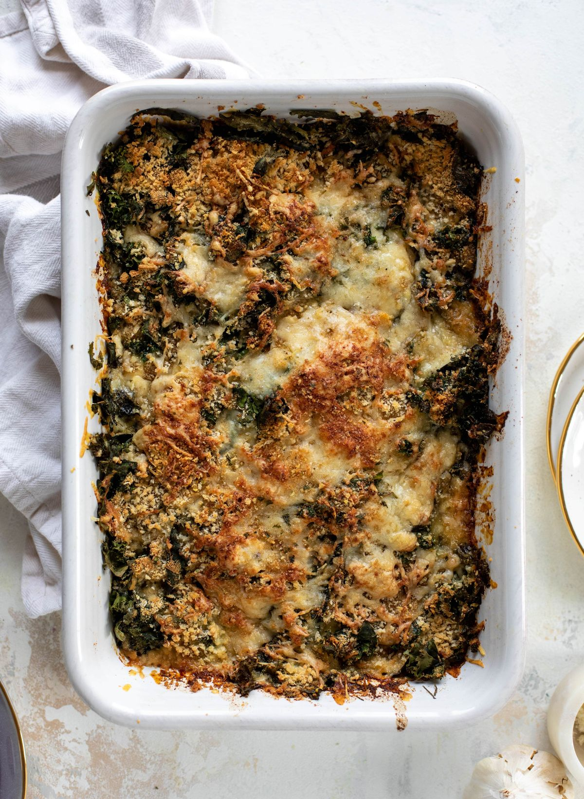 This double kale gratin has two kinds of kale, three kinds of cheese, cream and crunchy breadcrumbs. It will be your new favorite side dish!