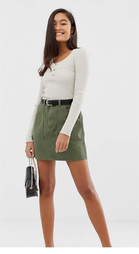 White blouse and olive skirt