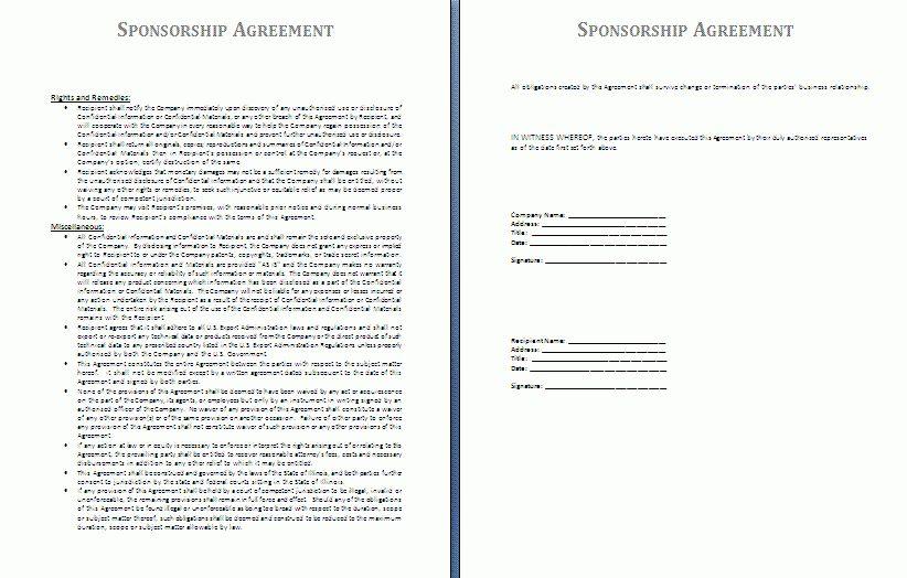 Sample Sponsorship Agreement Sponsorship Agreement Template - agreement templates
