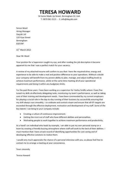 Supervisor Cover Letter Sample Professional Production Supervisor - production supervisor job description