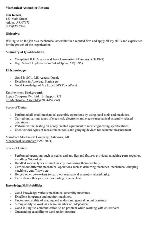 Unforgettable assembler resume examples to stand out ...