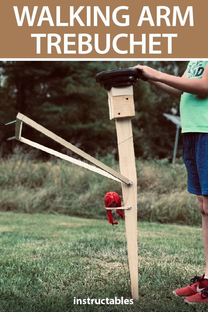 This simple, floating arm trebuchet is efficient, has fewer parts, less friction, and a unique projectile launch path. #Instructables #workshop #woodshop #woodworking #carpentry #launcher #physics #catapult #science #education