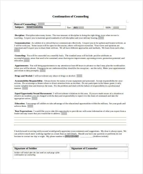NCOER, Counseling, Award, and other Writing Examples