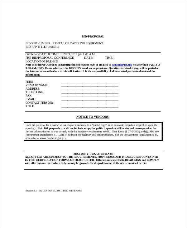 Bid Proposal Examples Bid Proposal Template 6 Best Proposal - sample catering proposal template