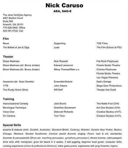 Sample Audition Resume Sample Acting Resume Acting Resume - beginner resume template