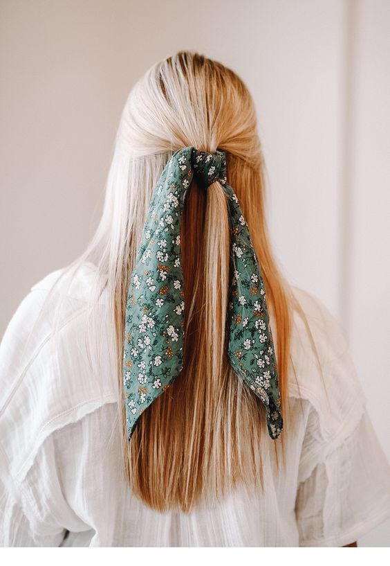 Blonde hair and printed scarf