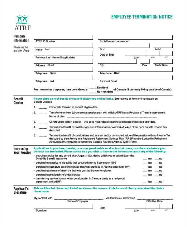 Notice Form Example eviction notice template 10 eviction notice - employee termination form