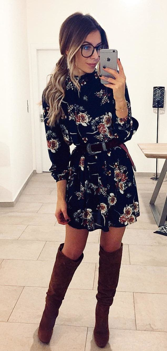black and brown floral dress #winter #outfits