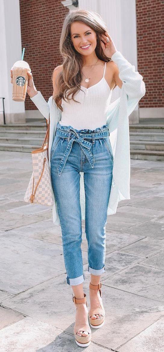 white spaghetti-strap tank top #spring #outfits