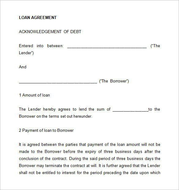 Loan Agreement Between Two Individuals 5 Loan Agreement Templates - loan form template