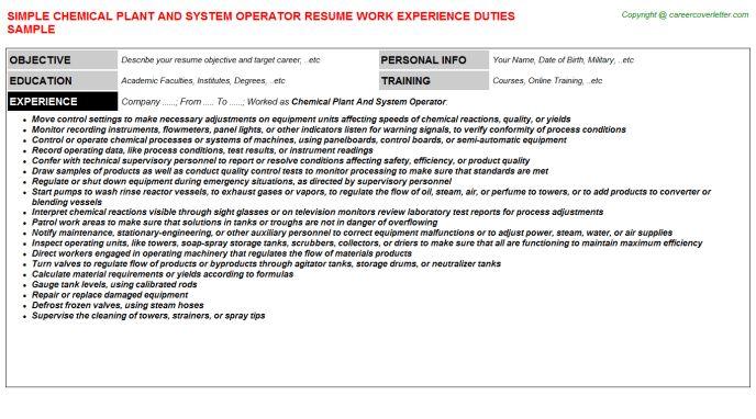 Fuel Distribution System Operator Sample Resume Resume Disposal