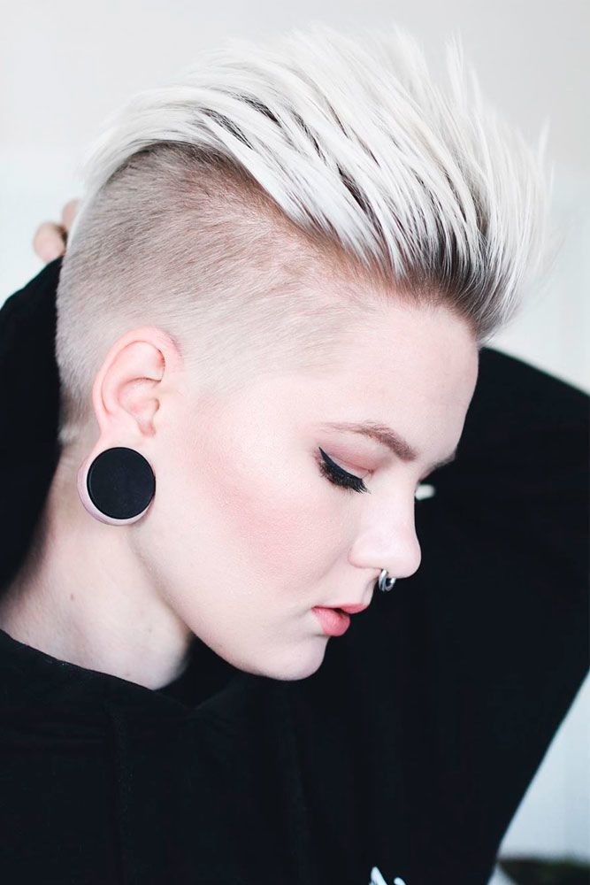 Platinum Blonde Spiky Taper Fade #shorthairstyles #blondehairstyles ★  A taper fade haircut for women works for straight as well as curly hair. You canalso go for a short, mid or long option. #glaminati #lifestyle #taperfade
