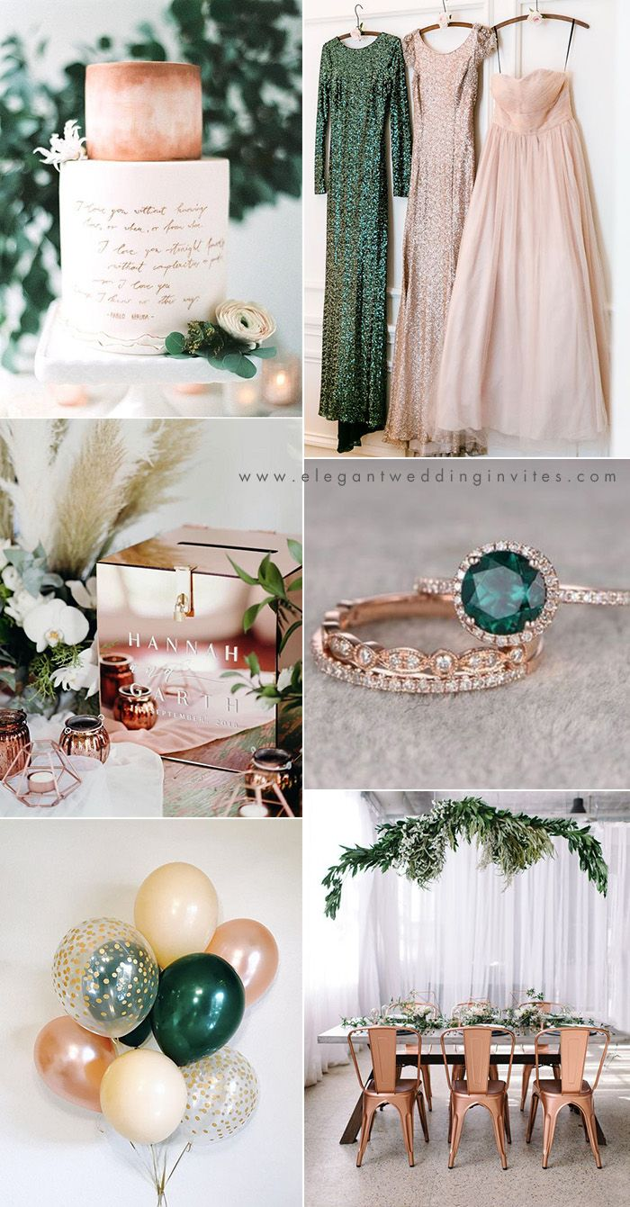 emerald green, rose gold and blush chic modern wedding colors