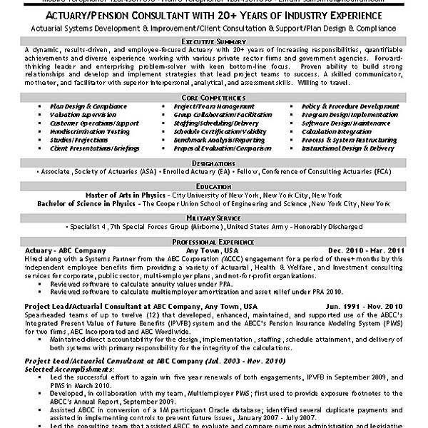 actuarial consultant resume actuary resume example resume - Actuary Resume