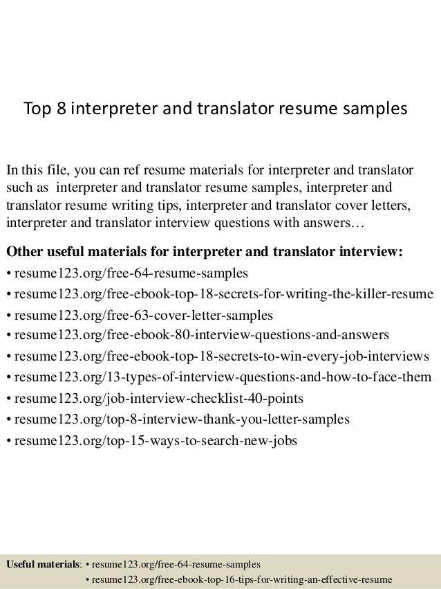 Translator Resume] Freelance Translator Resume Samples Visualcv ...
