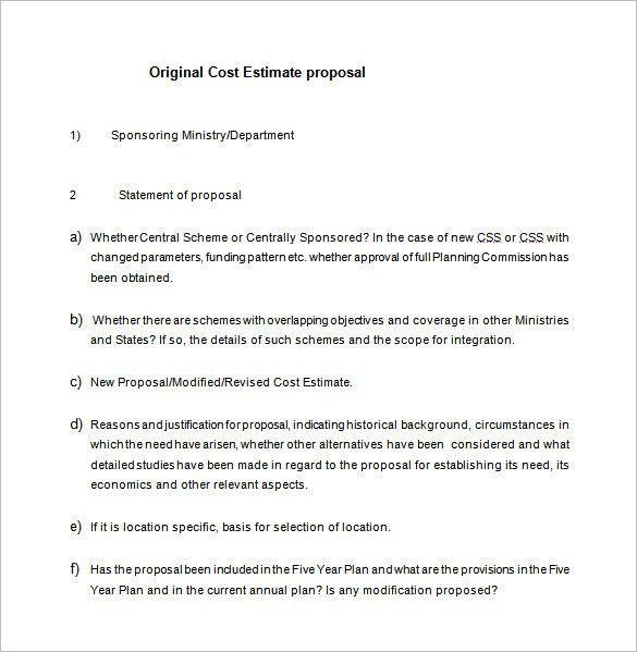 Cost Estimate Template Word 11 Job Estimate Templates And Work - estimate proposal template