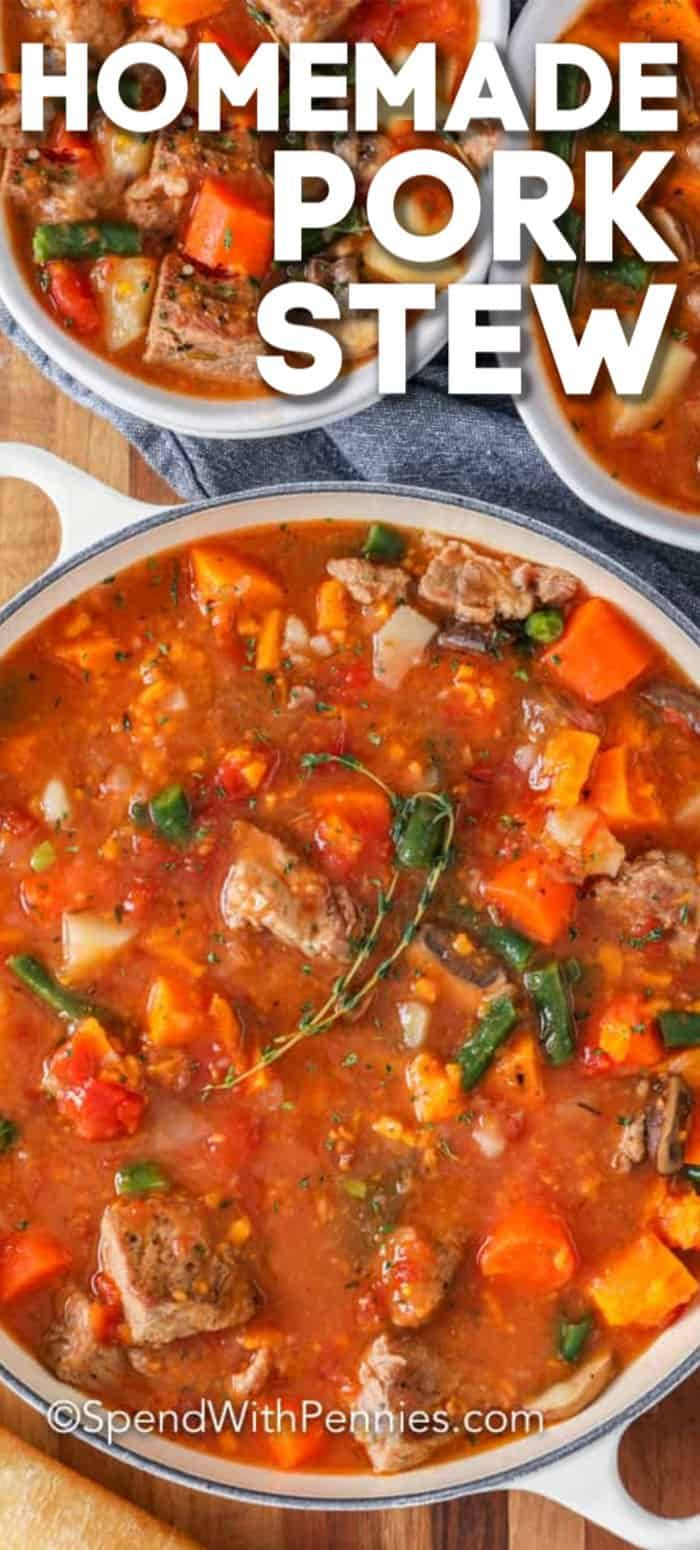 This hearty Pork Stew is an easy recipe that you can make on the stove top or in a slow cooker.