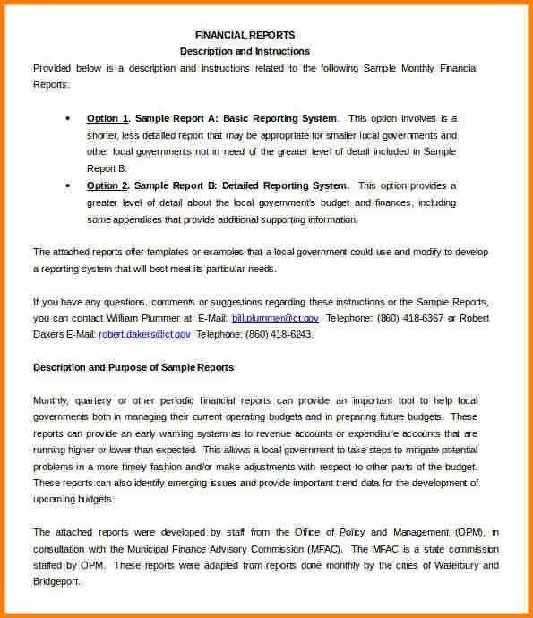Finance Report Format 11 Financial Report Templates Free Sample - monthly financial report sample