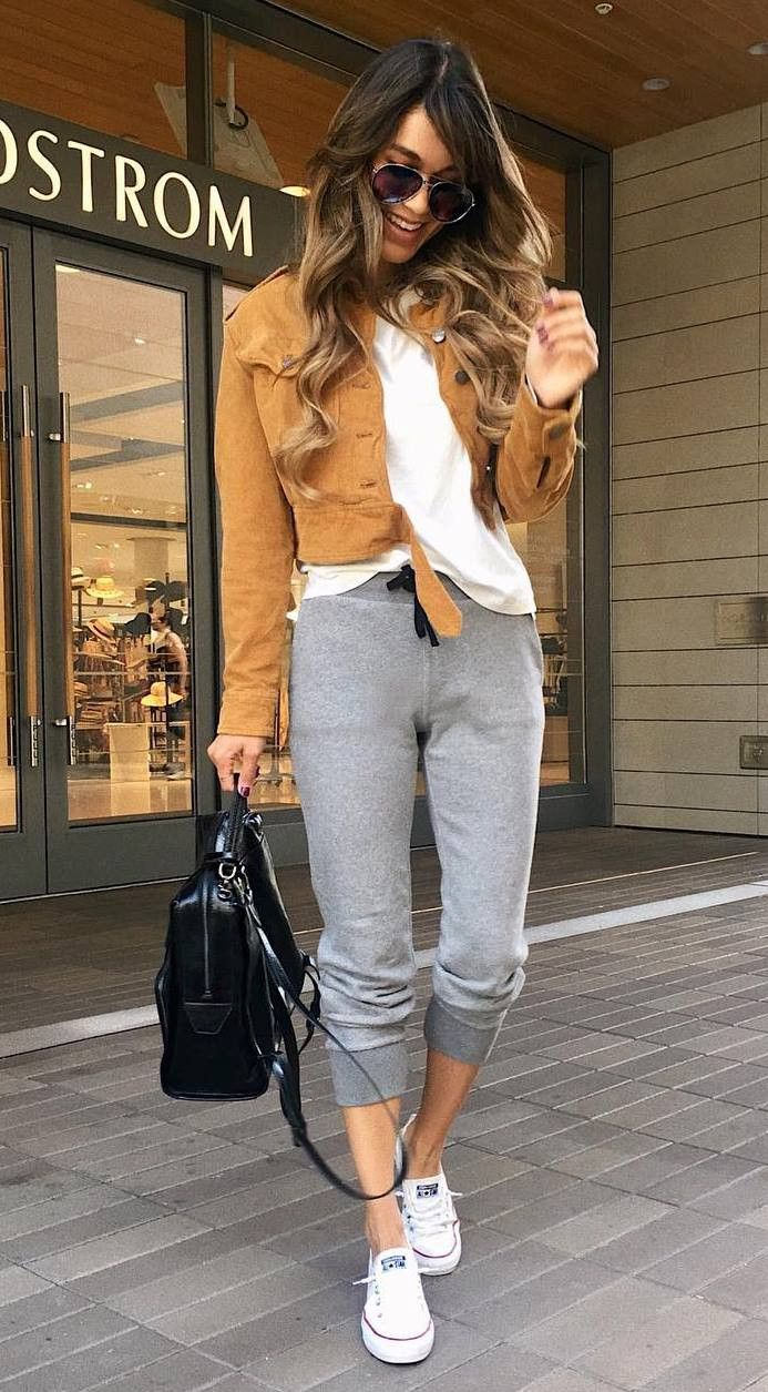 casual style perfection / brown jacket white tee bag grey pants converse