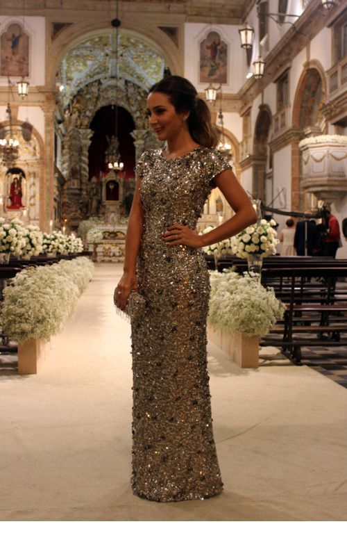 Glam gold long dress for wedding