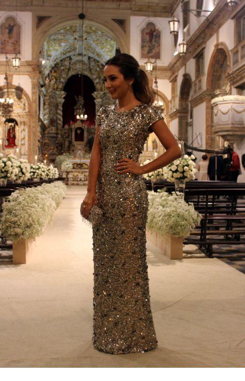 Glam gold long dress for wedding