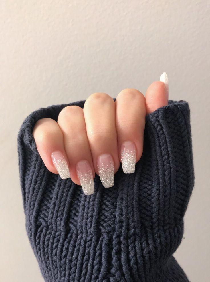 Ombré sparkle coffin nails #coffin #nails #ombre #sparkle