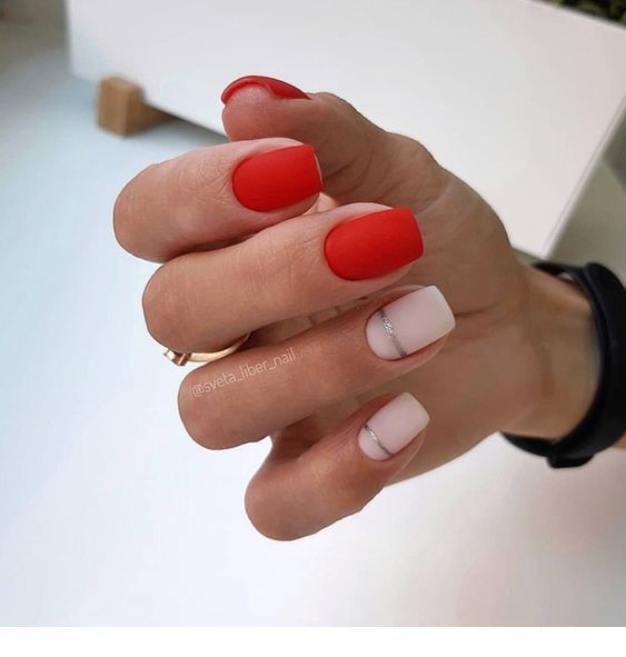 Matte red nails with silver details