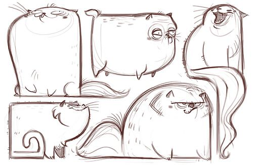 Daily Cat Drawings - the square one is hysterical