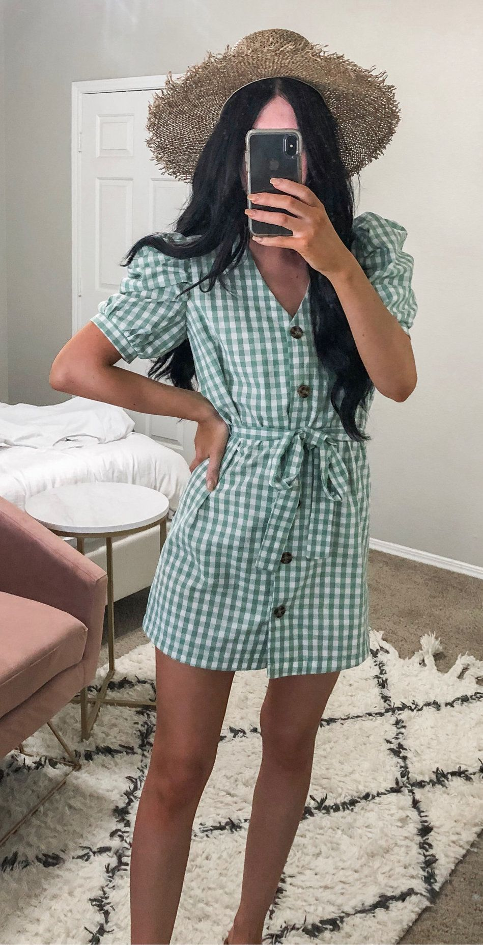 green and white button-up checked dress #spring #outfits