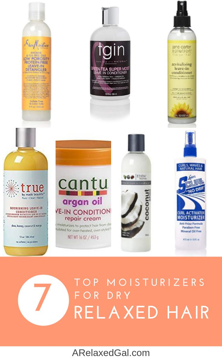 Leave-in conditioners are an important part of a healthy relaxed hair regimen. Check out this list of the top seven leave-in conditioners for relaxed hair. | A Relaxed Gal #relaxedhair #healthyhairregimen #relaxedhairproducts #leaveinconditioner #hairmoisturizer