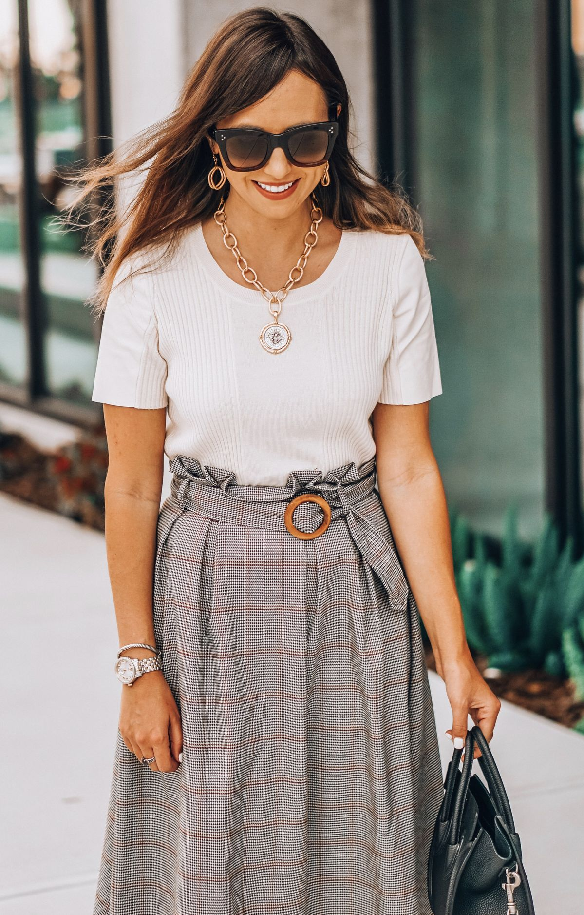 Chicwish checked skirt, Vince leather paneled cream top, Celine black nano bag with silver hardware, Susan Shaw jewelry, Celine Catherine sunglasses, Stuart Weitzman nearlynude sandals
