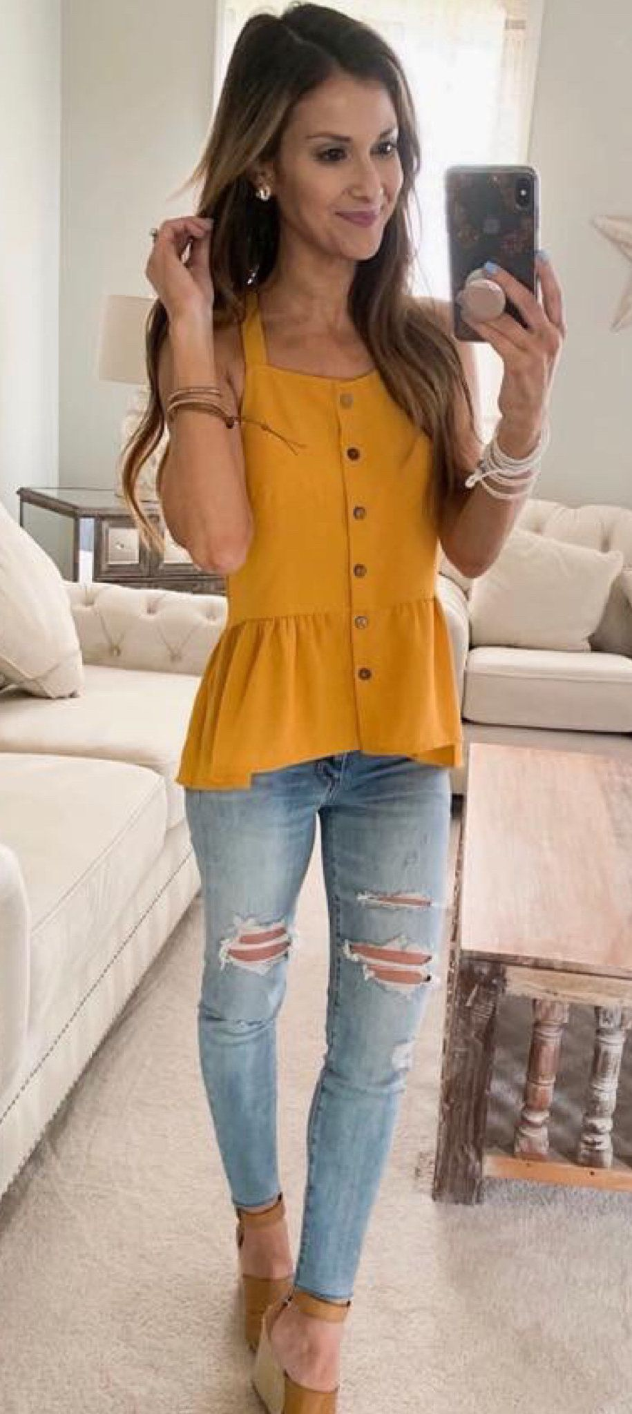 yellow blouse #summer #outfits