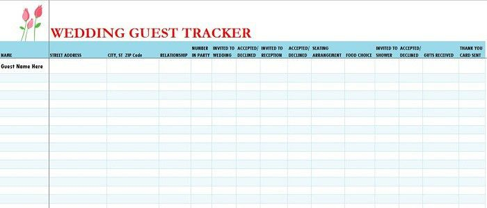 Wedding Address List Template 7 Free Wedding Guest List Templates - wedding guest list template