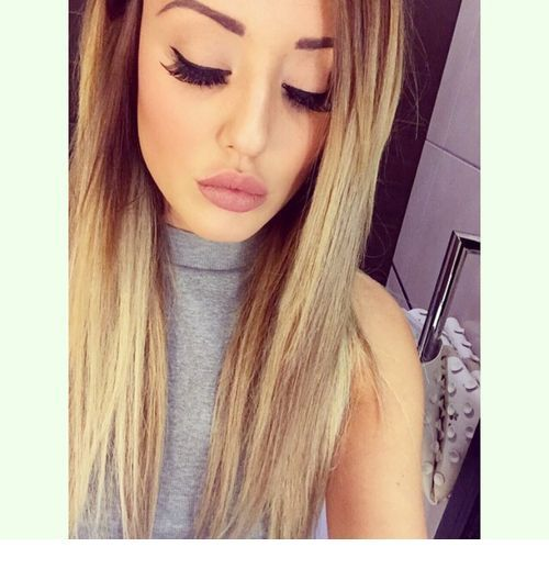Glam makeup and blonde hair color