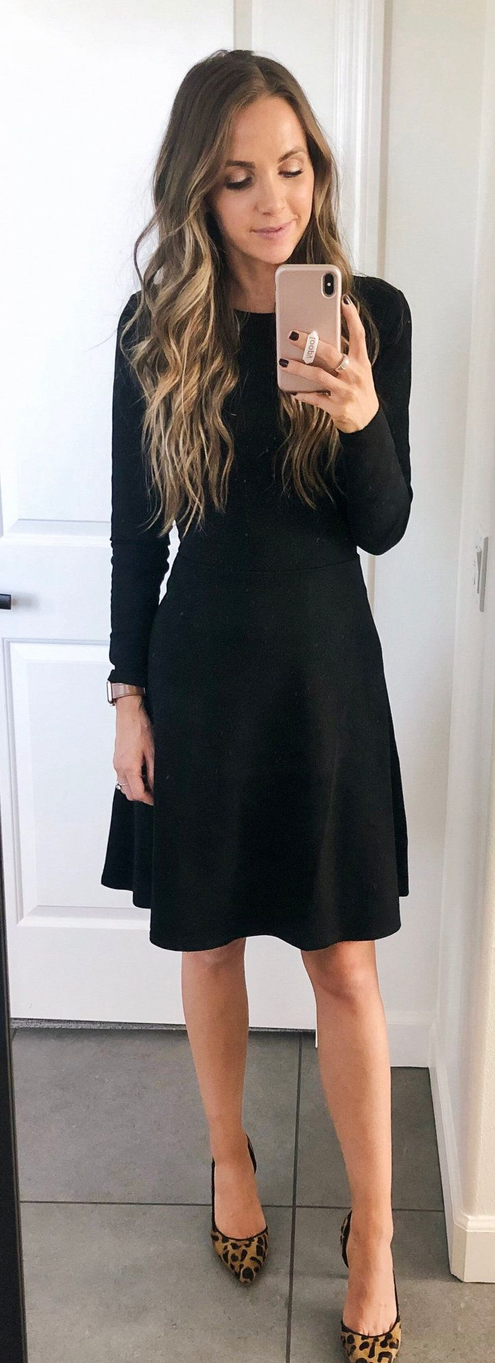 black long-sleeved midi dress