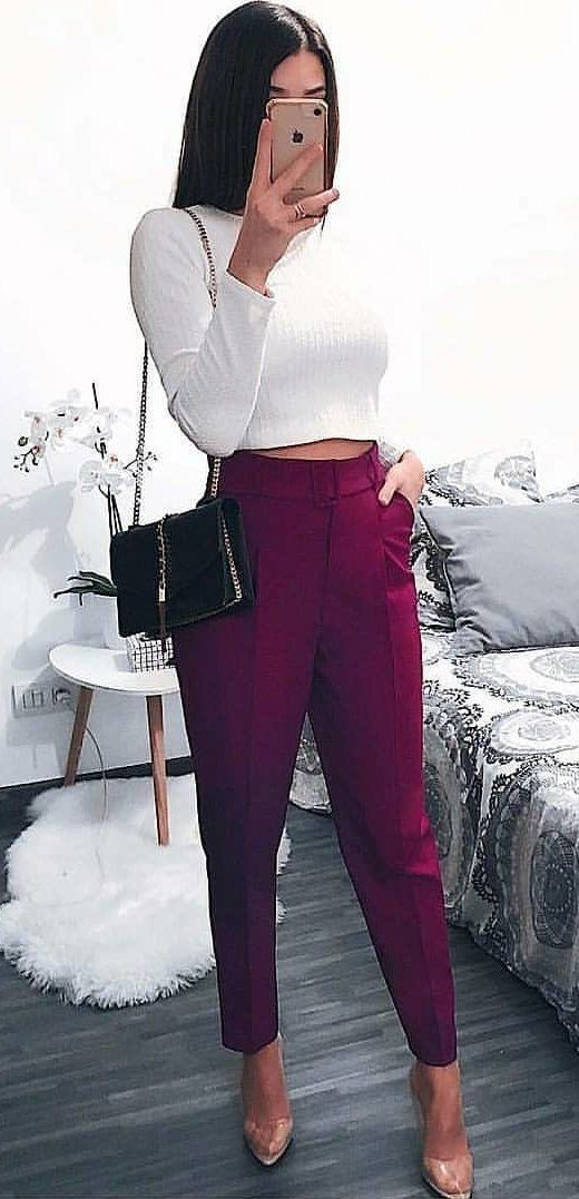 white long-sleeved top and purple pants #spring #outfits